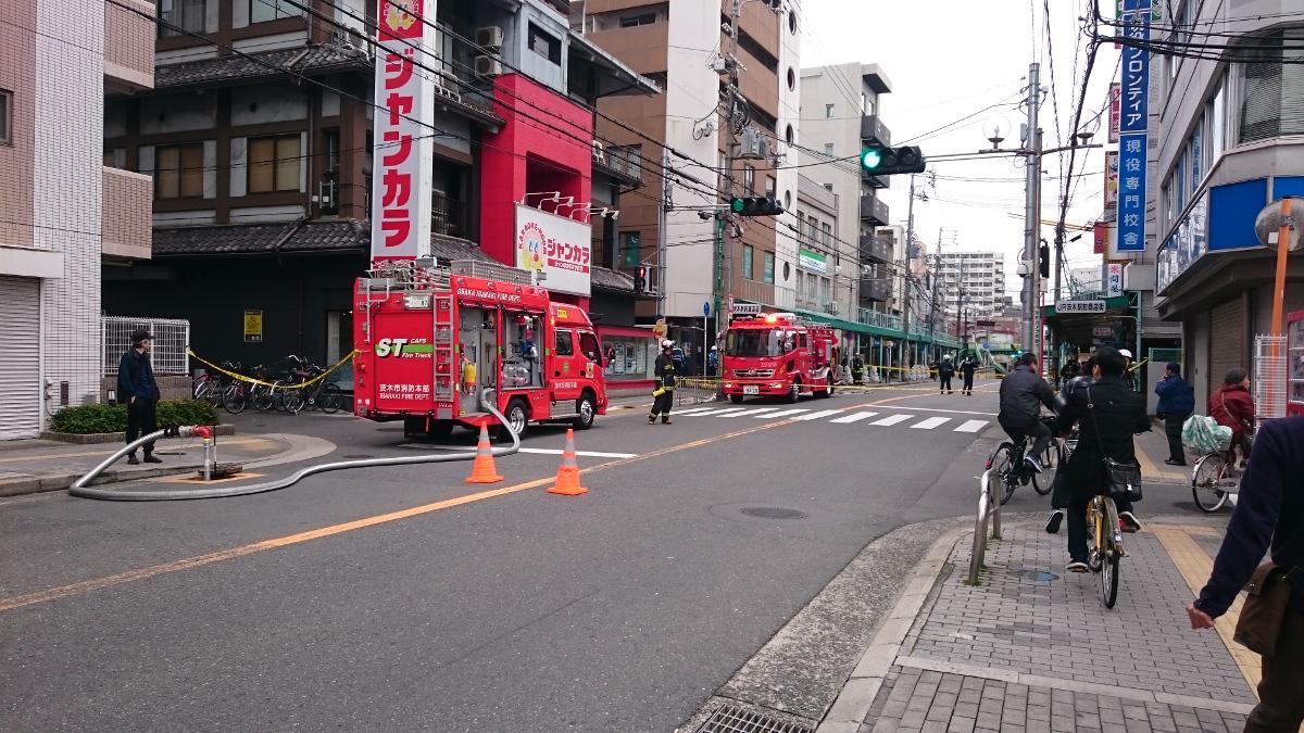 茨木市駅前1でガス漏れ中央通り通行止め